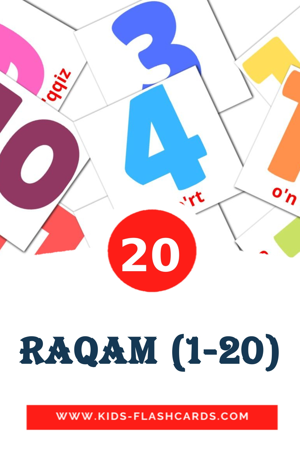 20 Raqam (1-20) Picture Cards for Kindergarden in uzbek