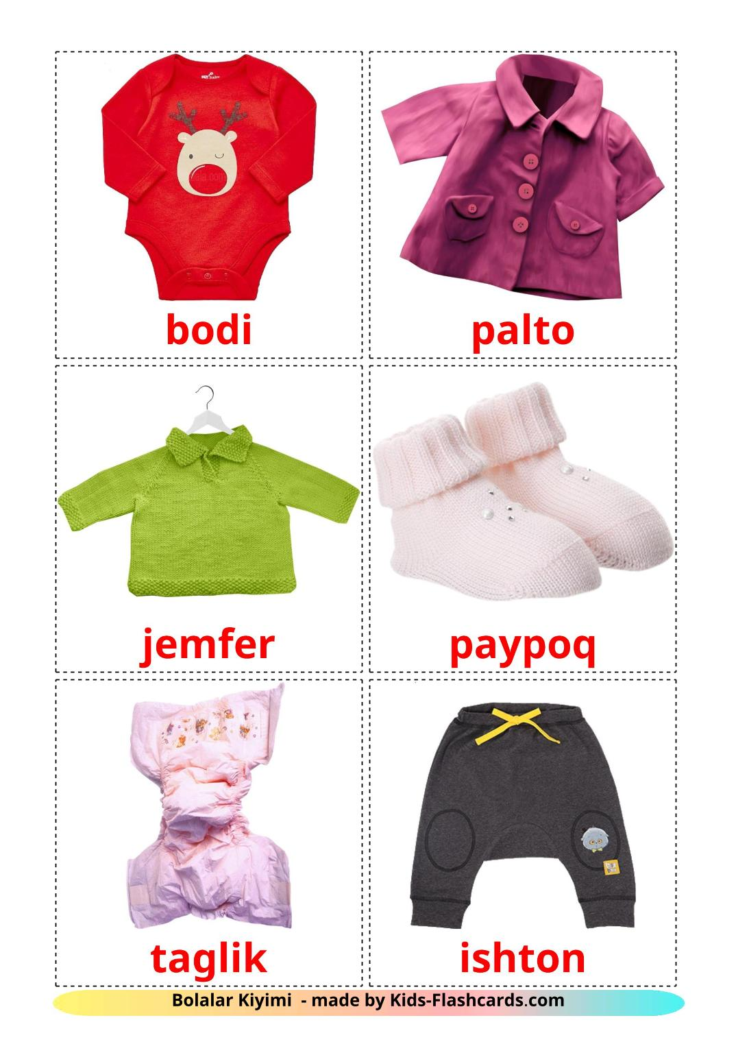 Baby clothes picture cards for Kindergarden in uzbek