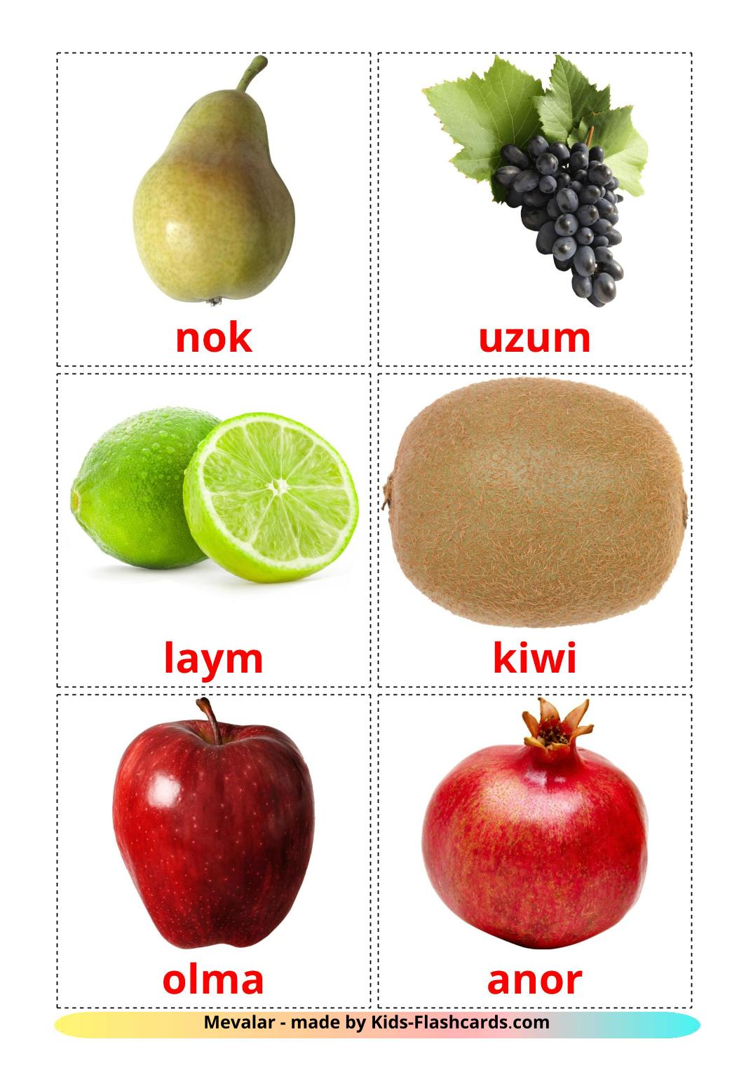 Fruits - 20 Free Printable uzbek Flashcards