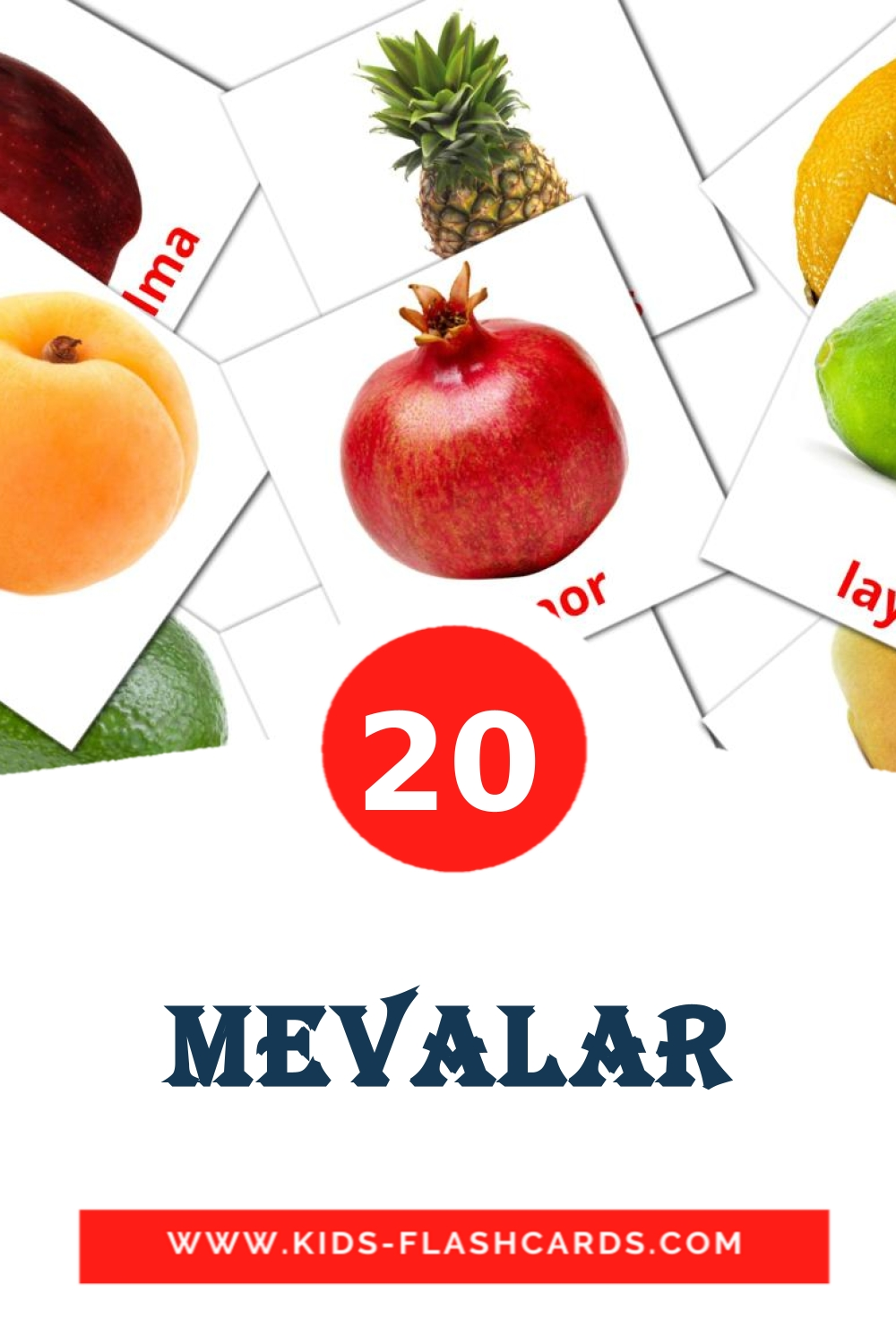 20 Mevalar Picture Cards for Kindergarden in uzbek