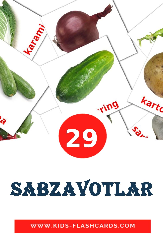 29 Sabzavotlar Picture Cards for Kindergarden in uzbek