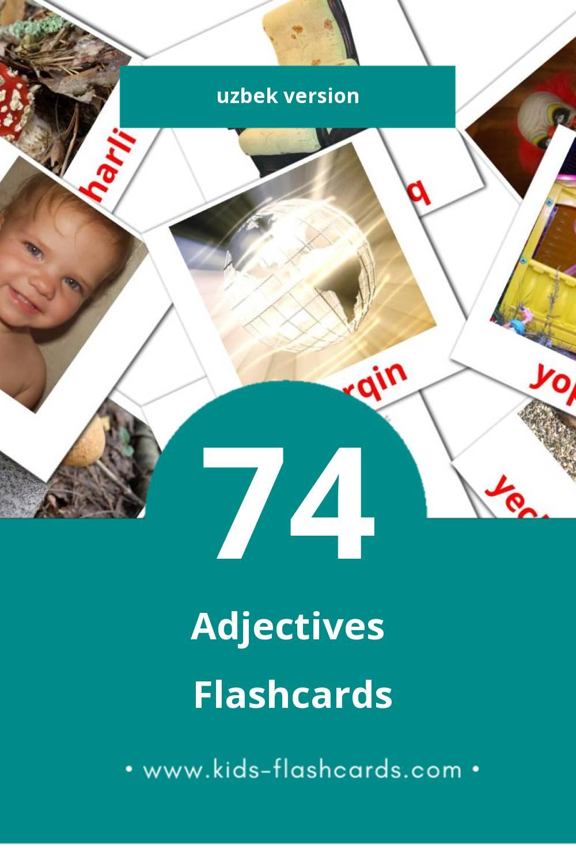 Visual Sifatlar Flashcards for Toddlers (74 cards in Uzbek)