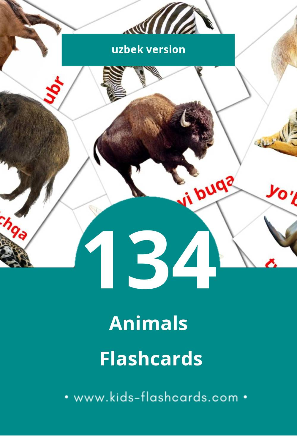 Visual Hayvonlar Flashcards for Toddlers (134 cards in Uzbek)