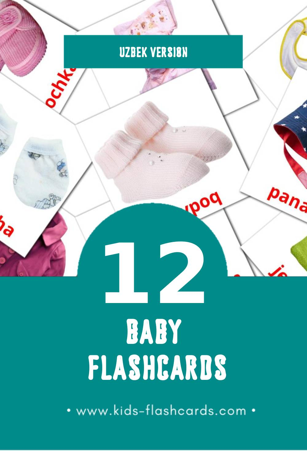Visual Bola Flashcards for Toddlers (12 cards in Uzbek)