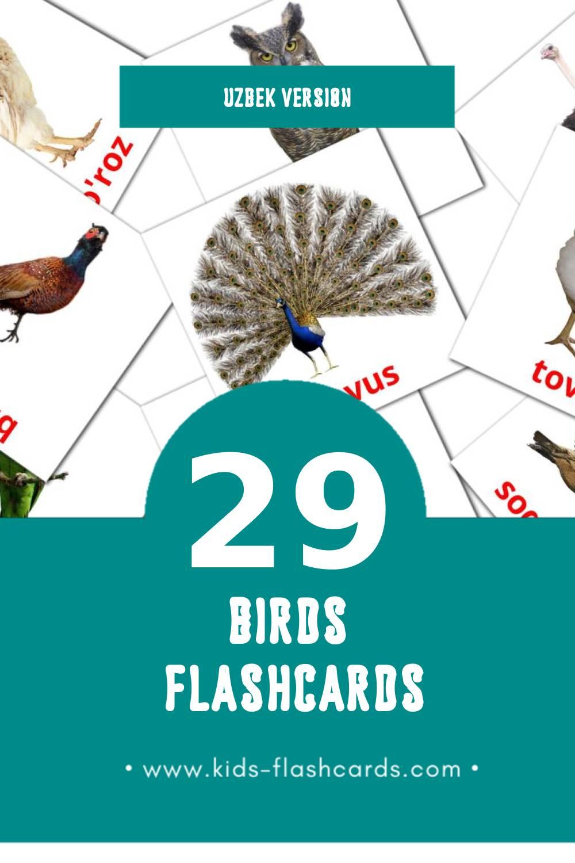 Visual Qushlar Flashcards for Toddlers (18 cards in Uzbek)