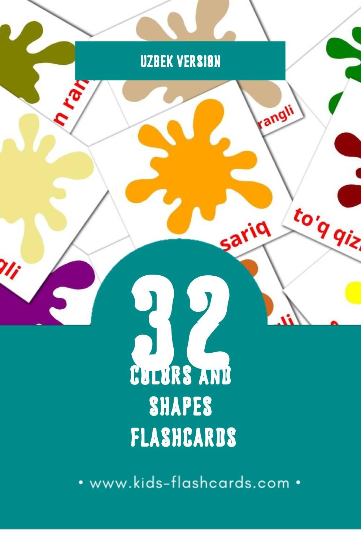 Visual Ranglar Flashcards for Toddlers (12 cards in Uzbek)