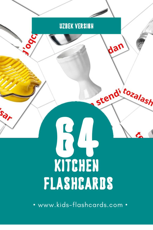 Visual oshxona Flashcards for Toddlers (29 cards in Uzbek)