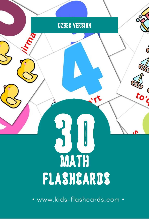 Visual Matematika Flashcards for Toddlers (30 cards in Uzbek)