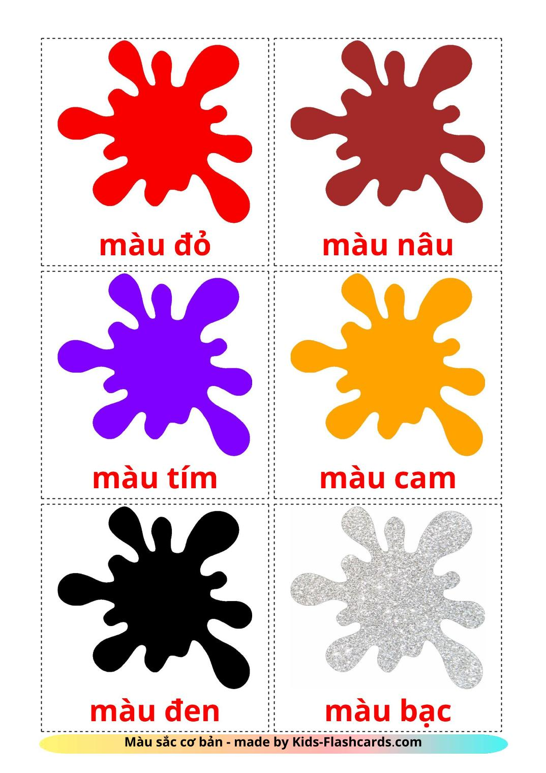 Base colors - 12 Free Printable vietnamese Flashcards