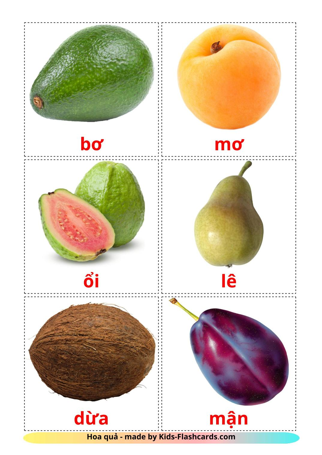 Fruits picture cards for Kindergarden in vietnamese
