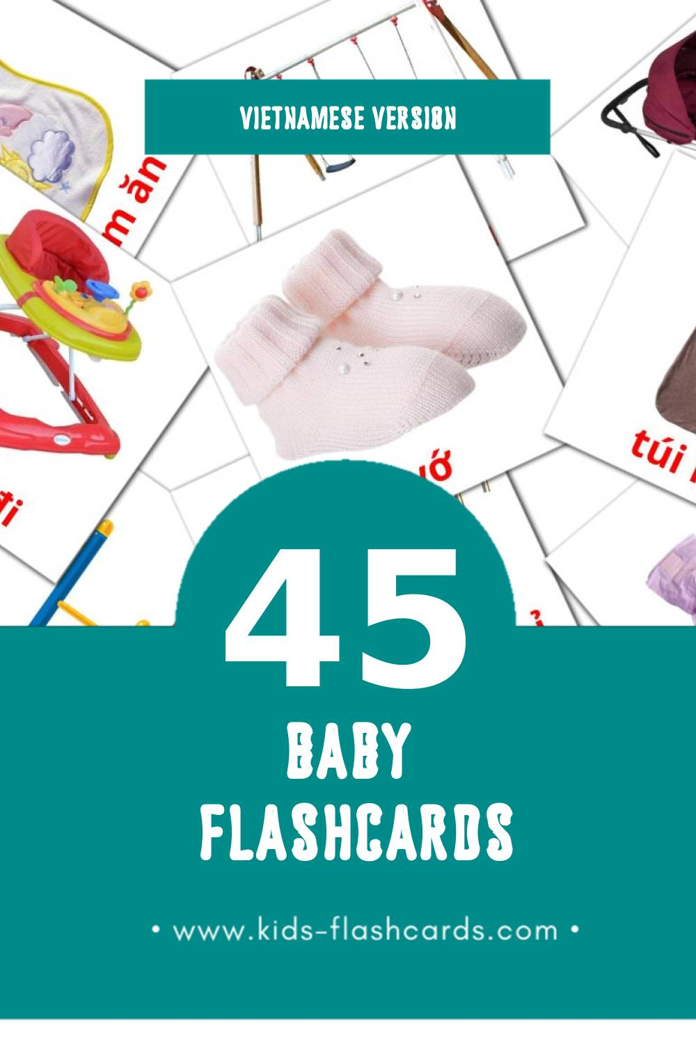 Visual Baybay Flashcards for Toddlers (45 cards in Vietnamese)