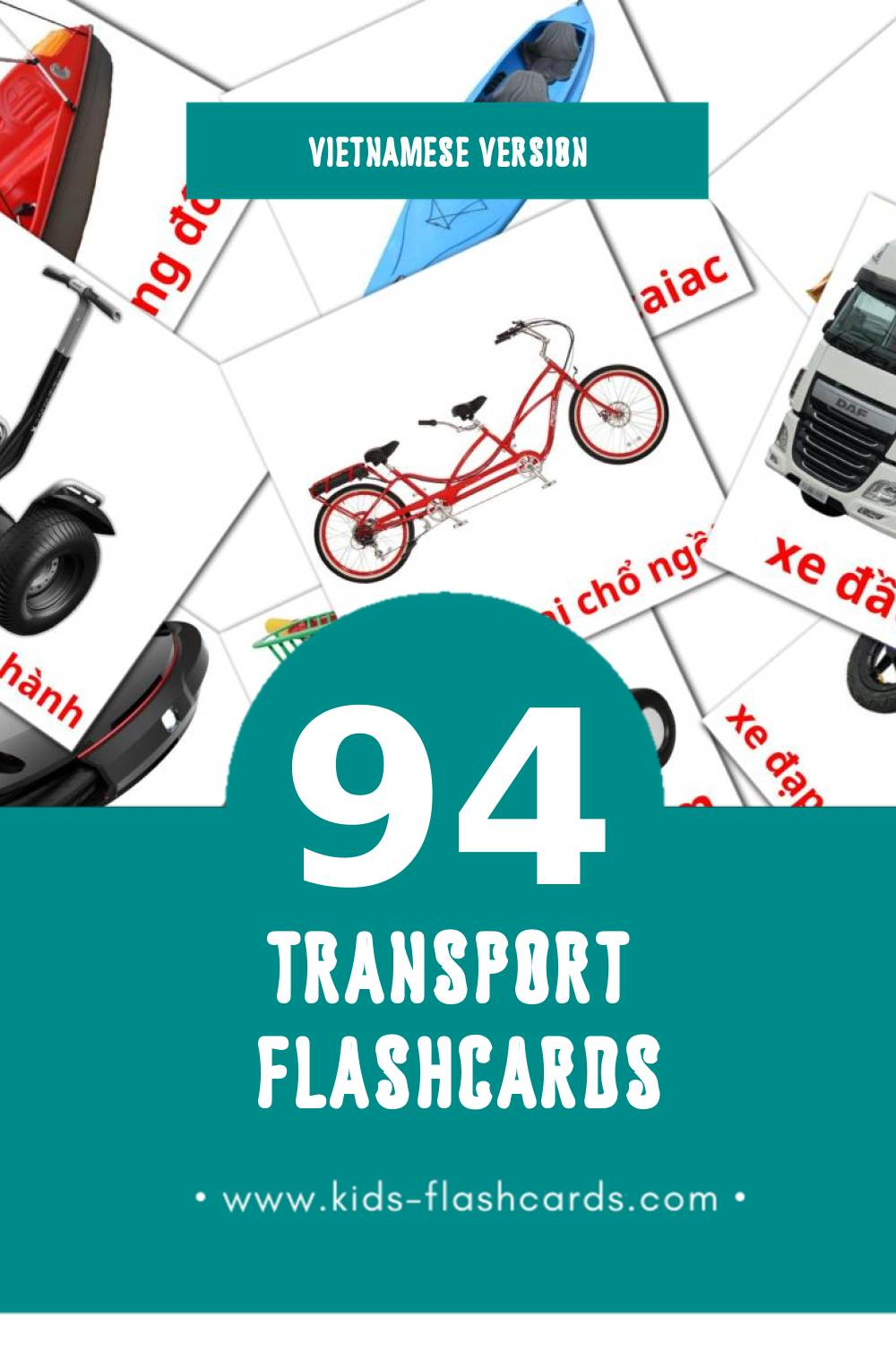 Visual Phương tiện giao thông Flashcards for Toddlers (94 cards in Vietnamese)
