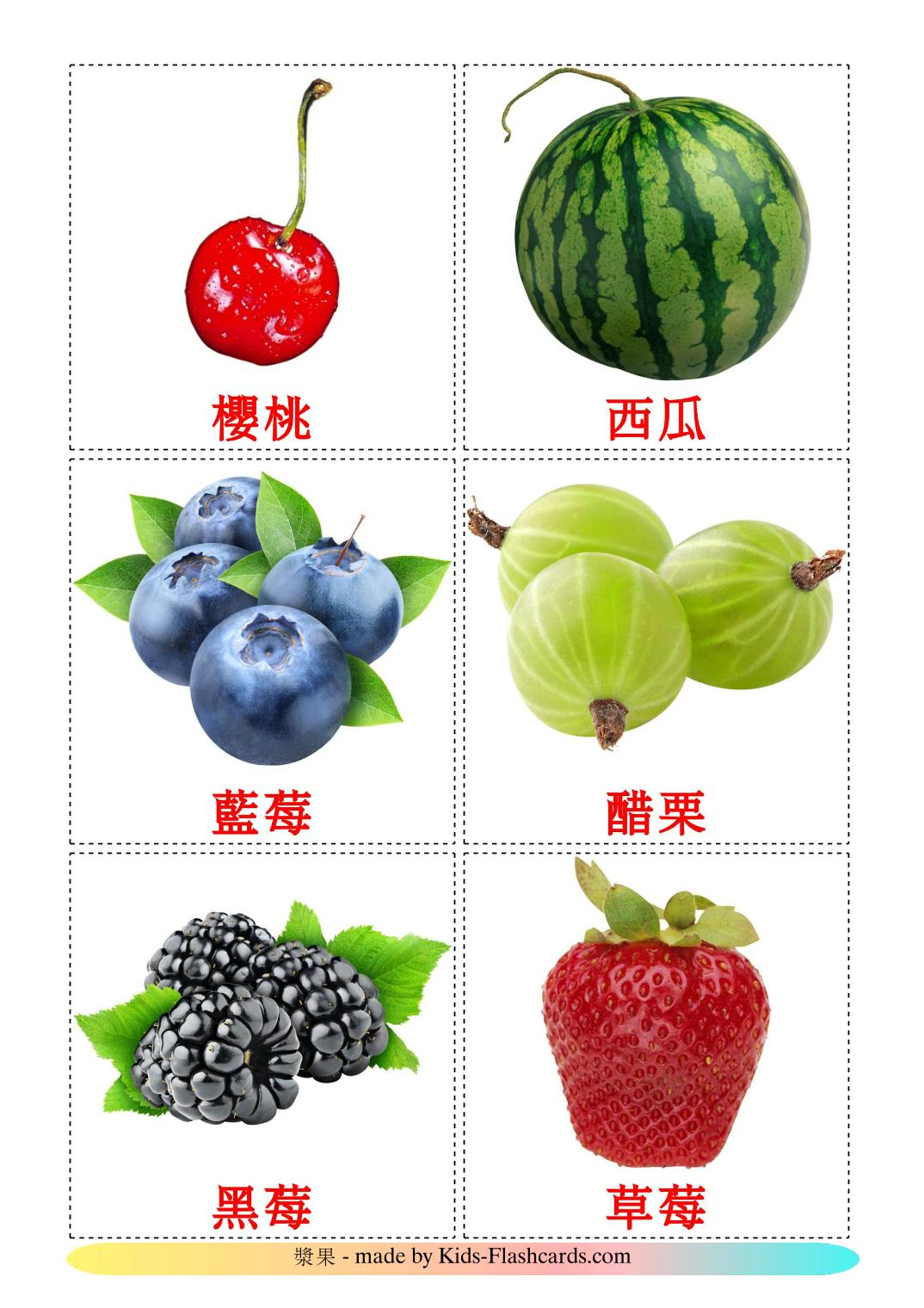Berries - 11 Free Printable chinese(Traditional) Flashcards