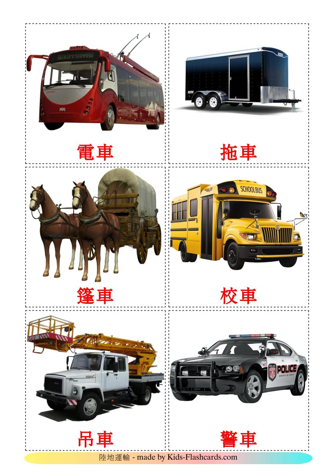 Land transport - 28 Free Printable chinese(Traditional) Flashcards