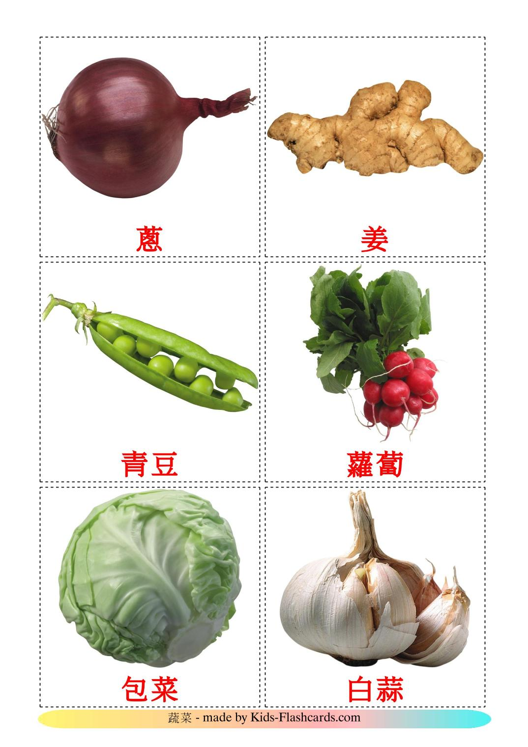Vegetables - 29 Free Printable chinese(Traditional) Flashcards
