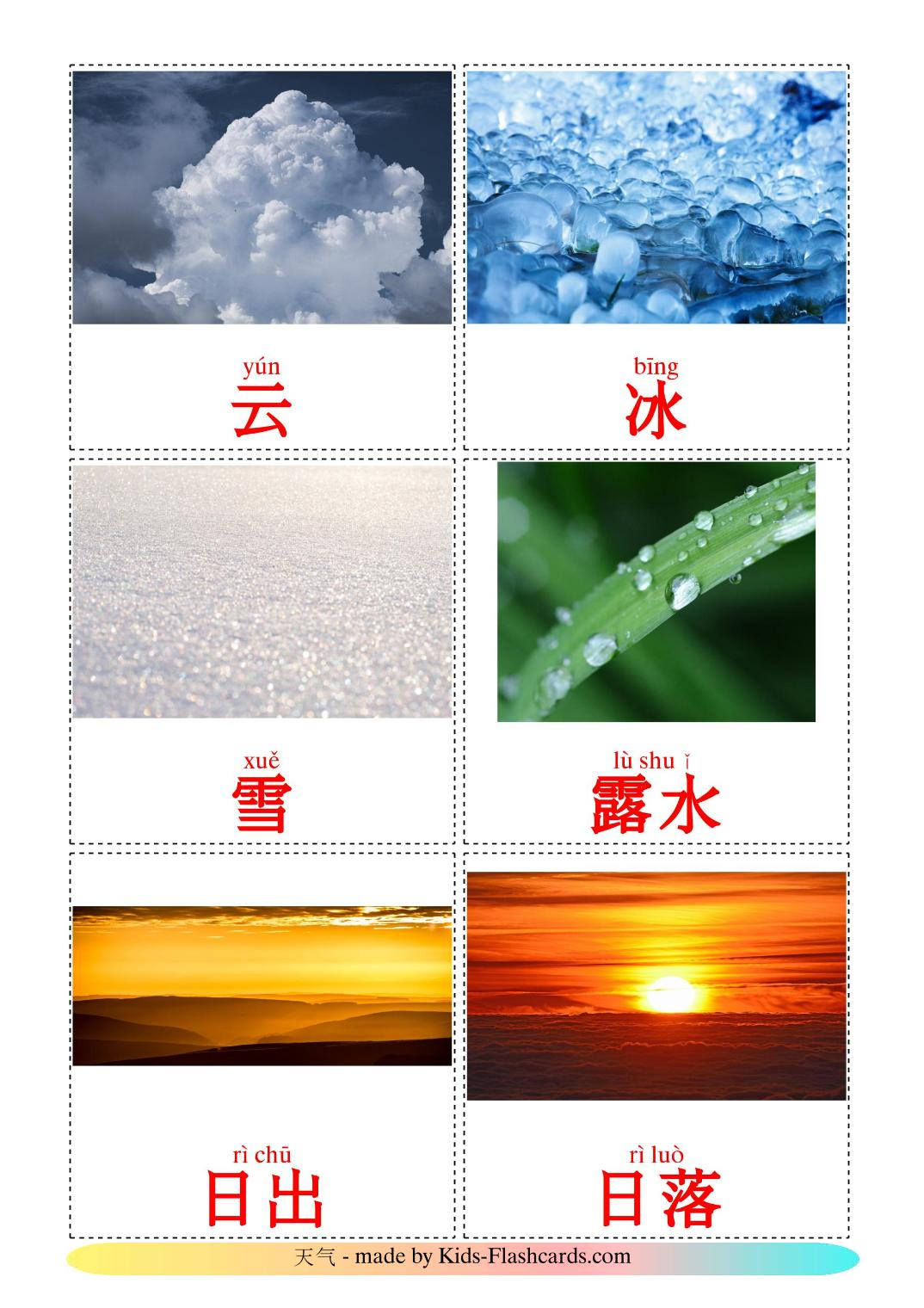 Weather - 31 Free Printable chinese(Simplified) Flashcards
