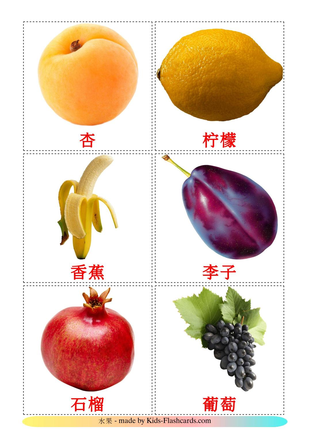 Fruits - 20 Free Printable chinese(Simplified) Flashcards