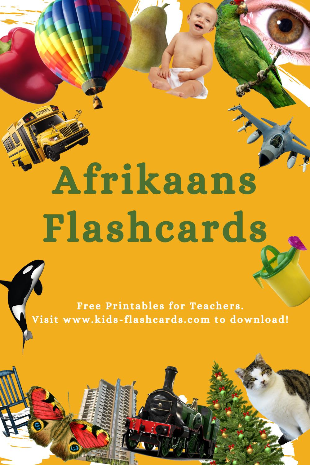 Worksheets to learn Afrikaans language